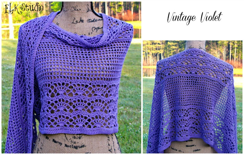 Free Antique Crochet Shawl Patterns : Vintage Violet Shawl by ELK Studio